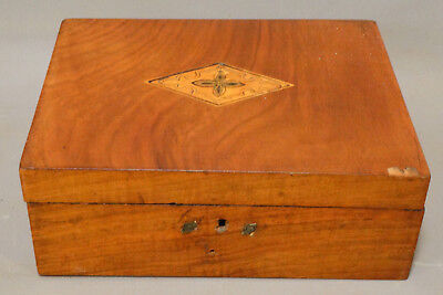 19thC Antique VICTORIAN Era LADIES DRESSER BOX Old FLIP OUT MIRROR Jewelry CHEST