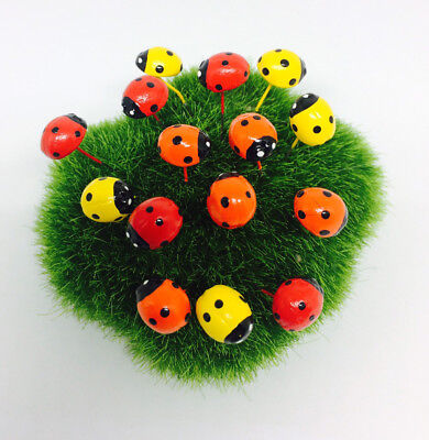 15 pcs Miniature Dollhouse Fairy Garden Accessories 3 color  Ladybug Clay Decor