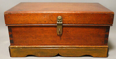 19thC Antique VICTORIAN Era DOCUMENT BOX Old CHILD Size TRUNK Lock WOOD CHEST