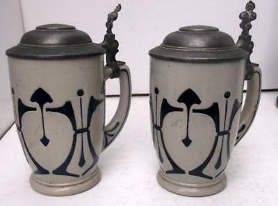 Pair German Secessionist Beer Mug Stein Tankards 1/4 Ltr Coffee Mugs!