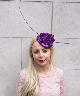 Purple Rose Sequin Quill Feather Fascinator Pillbox Races Hat Headpiece 3976