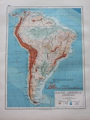 1897 Victorian Map South America Table Land Of Peru Plateau Of Bolivia