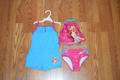 NWT Girls DISNEY Little Mermaid Turquoise 3 Pc Swimsuit Romper Size 24 Months