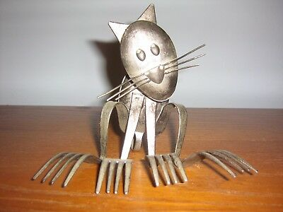 MCM-UNIQUE!-HANDCRAFTED FOLK ART METAL Forks & Spoons CAT SCULPTURE-XLNT!
