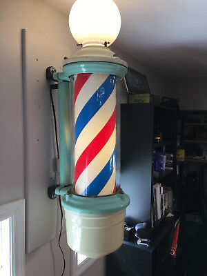 Vintage Theo A Kochs Lighted Rotating Electric Barber Pole