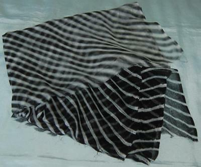 "Remnant Antique Vintage Chiffon Fabric Black White 65""x 27"" Restoration c1930s"