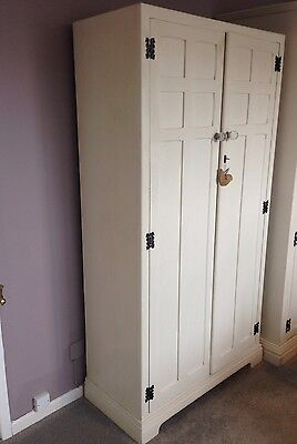 Vintage Small Wardrobe In Annie Sloan Old White Paint Early 20th Century