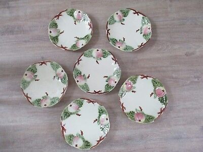 6 Assiettes En Barbotine Choisy Le Roi Decor Peche