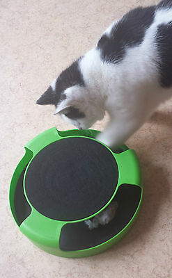 Catch The Mouse Motion Moving Cat Scratch Pad Toy Claw Care Mat +Free Catnip