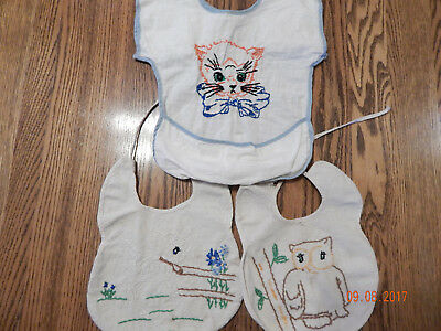 Lot of 3 Vintage Baby Bibs-FREE Shipping!
