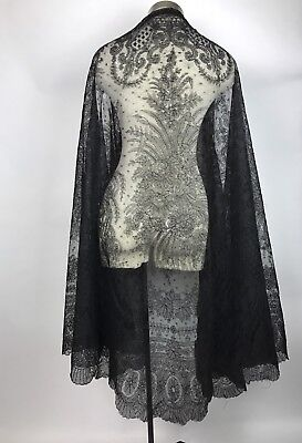 Antique 19th Century Black Chantilly Lace Full Length Cape Cloak Mourning AS IS