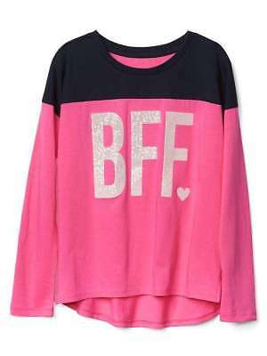 NWT Gap Kids girls size 6 7 BFF FOREVER sequin tee shirt top pink navy blue NEW