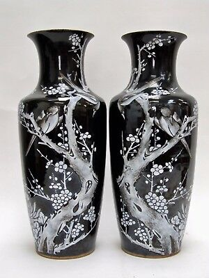 LARGE MIRRORED PAIR 19th CENTURY CHINESE PORCELAIN FAMILLE NOIRE BIRD VASES QING