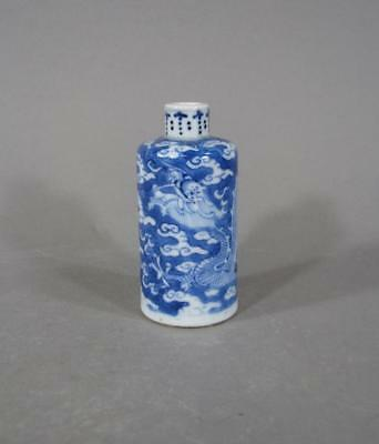 Nice Antique Chinese Blue & White Porcelain Snuff Bottle Character On Bottom 19C