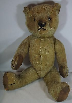 """VINTAGE 1930s 14"""" CHAD VALLEY JOINTED MOHAIR TEDDY BEAR WITH BOOT BUTTON EYES"""