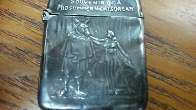 Edwardian Antique Silver Midsummer Night's Dream Shakespeare Souvenir Vesta Case