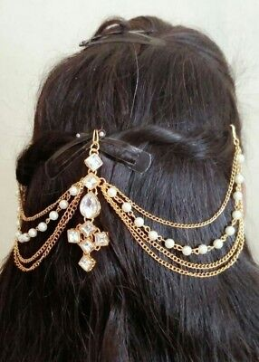 *UK Seller* Indian Bollywood Hair Jewelry Gold Tone Bun Pin Hair Accessories