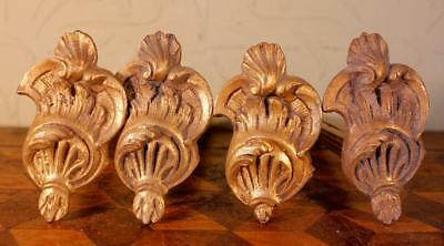 4x Vintage Rococo French Gilt Brass Bronze Curtain Pole Rod Holders Ormulu WOW