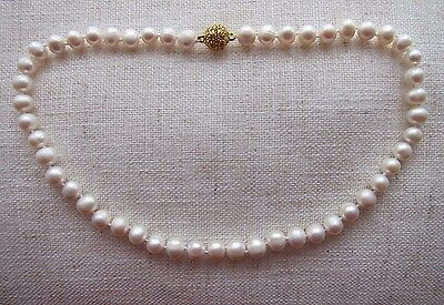 "Akoya Cultured Pearl Necklace with Diamante Clasp - 8-10 mm; 15 1/4"" -18"" long"