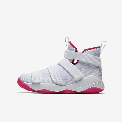 New Nike Youth Lebron Soldier XI GS Shoes (918369-102)  White/Vivid Pink/White