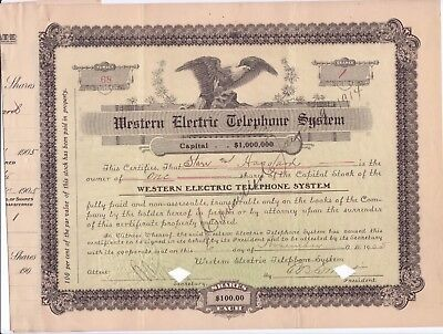 1905 Western Electric Telephone System stock certificate