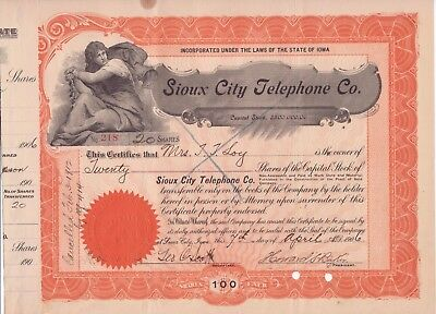 1906 Sioux City (Iowa) Telephone Co stock certificate