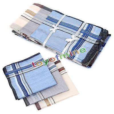 12pcs Mens Handkerchiefs 100% Cotton Pocket Square Hanky Handkerchief