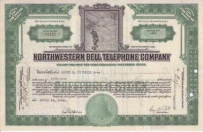 1926 Northwestern Bell Telephone Co stock certificate (Iowa) man in snowshoes