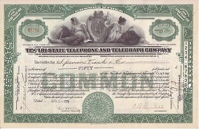 1929 Tri-State Telephone and Telegraph Co stock certificate (Maine)