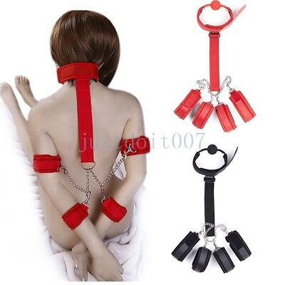 Wrist to Collar Handcuffs Ankle Cuffs Mouth Gag Neck Restraint Straps chain new