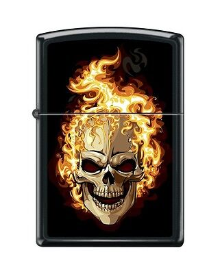 Zippo 6114, Flaming Skull, Black Matte Finish Lighter, Full Size