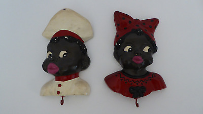 Vintage Black Americana Wall Hanging Pot Holder Hooks