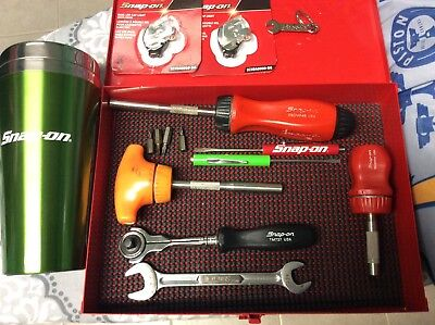 Snap on tools screwdrivers,ratchet,box and accessories red,orange snap-on green