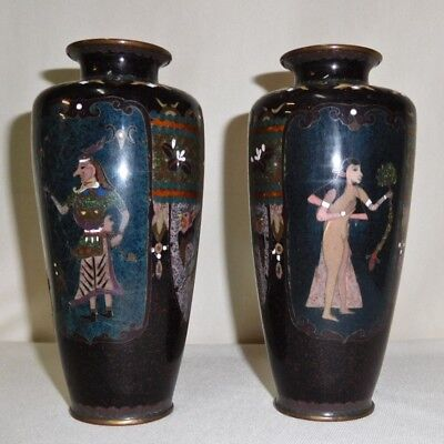 Japanese Cloisonne Vases Nude women, Unusual but as is, Antique