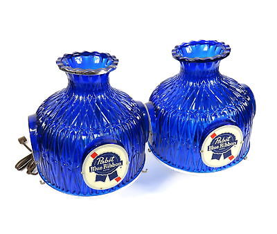 Vintage Pair Of Pabst Blue Ribbon Plastic Bar Advertising Lamps / Lamp Covers
