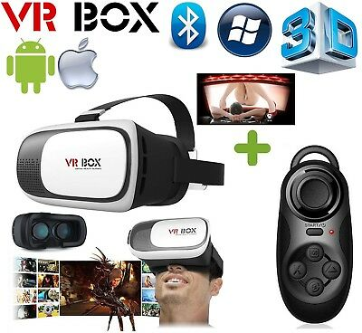 Virtual Reality 3D Vr Box Glasses Headset + Remote For Iphone Android S7 Edge Uk