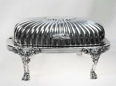 Victorian FB Rogers Silver Company Silverplate Roll Top Lion Footed Butter Dish