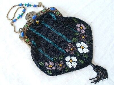 SUPERB! Antique Beaded Purse AMAZING! Jeweled Frame Art Glass Bead Chain Handle