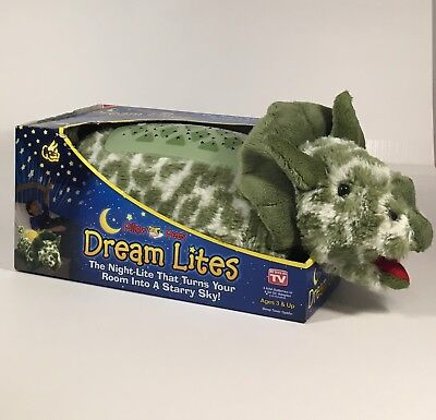 """BRAND NEW IN PACKAGE Pillow Pets Dream Lites LIGHTS Green Triceratops 11"""""""