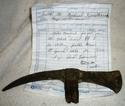 c1750–70 WOODLAND NATIVE AMERICAN INDIAN SPIKE TOMAHAWK DUG ON MOHAWK TRAIL vafo