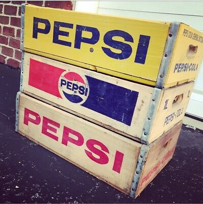 3 Vintage Wood Soda Crate Lot Pepsi Cola Great Shape