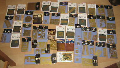 Huge Lot, 60+ Brass Embossing Stencils, mixed media, scrapbooking, crafts