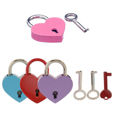 4Pcs Love Old Vintage Antique Style Small Padlock with Key Jewelry Box Lock