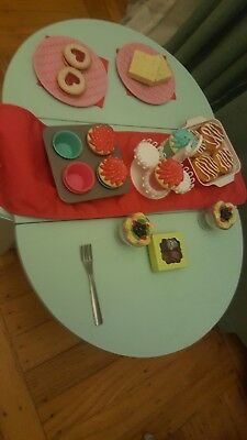 American Girl Blue Baking Table & Accessories Retired Cupcakes Treats And More