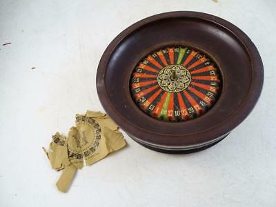 "Antique Wood Casino Roulette Game German 1800s Vintage 6.75"" Wide Painted Old"