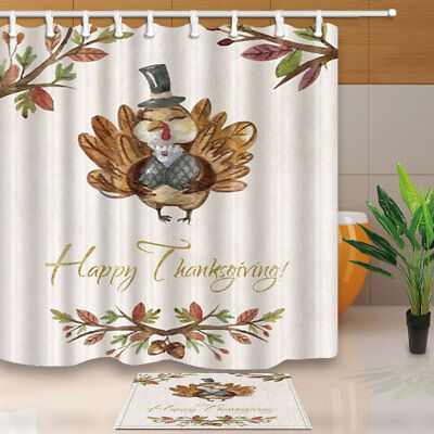 Thanksgiving Owl With Branches Bathroom Fabric Shower Curtain Set 71inches Long