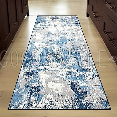 ALBA ABSTRACT BLUE GREY SUPER SOFT MODERN RUG RUNNER 80x400cm *FREE DELIVERY**