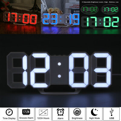3D Design Digital LED Wall Clock Table Alarm Clock 12/24h Display Snooze Timer