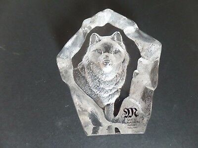 Mat Jonasson Lead crystal engraved Art glass Wolf