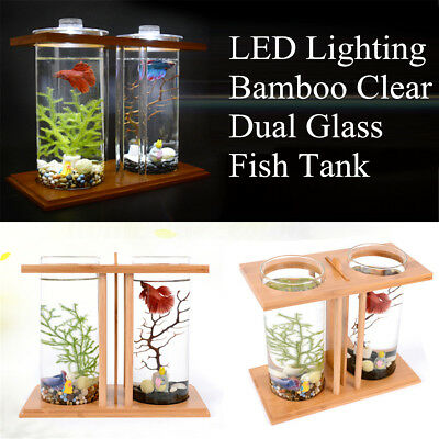 LED Light Dual Clear Glass Fish Tank Betta Aquarium Bamboo Shelf Home Office